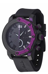 Men's Ritmo Mundo 'Quantum Iii' Chronograph Silicone Strap Watch 50Mm Black Purple