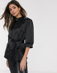 River Island Belted Satin Top In Black