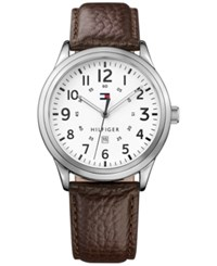 Tommy Hilfiger Men's Table Brown Leather Strap Watch 42Mm 1791259
