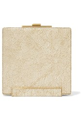 Halston Heritage Metallic Printed Brushed Suede Clutch Gold
