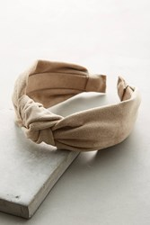 Anthropologie Knotted Microsuede Headband Neutral