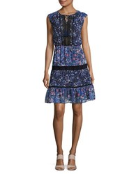 T Tahari Giselle Lace Trimmed Floral Peasant Dress Oasis