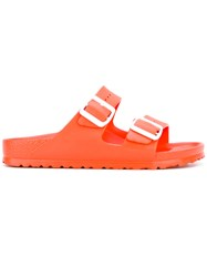 Birkenstock Buckle Slider Sandals Women Rubber 41 Yellow Orange