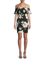 Design Lab Lord And Taylor Floral Popover Bodycon Dress Black Multi