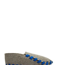 Lasso Felt Lace Up Slippers Blue