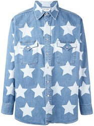 Saint Laurent Star Print Oversized Shirt Blue