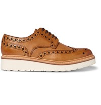 Grenson Archie Wedge Sole Leather Brogues Brown