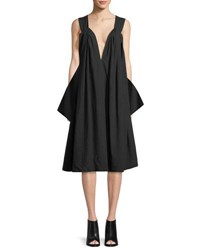 Urban Zen Sleeveless V Neck Balloon Dress Black