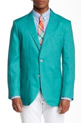 Tailorbyrd Solid Two Button Notch Lapel Linen Sports Jacket Green