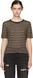 Alexander Wang T By Navy And Tan Striped T Shirt