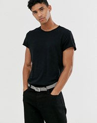 Cheap Monday T Shirt In Reverse Stitch Black