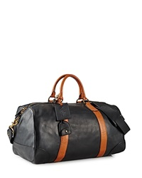 Polo Ralph Lauren Two Toned Leather Duffel Bag Black Cognac