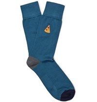 Paul Smith Embroidered Stretch Cotton Blend Socks Blue
