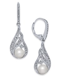Danori Silver Tone Imitation Pearl And Pave Drop Earrings Created For Macy's