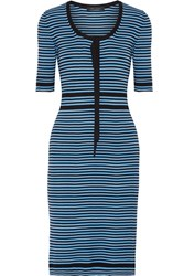 Marc Jacobs Striped Ribbed Stretch Cotton Dress Azure