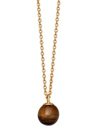 Astley Clarke Peggy Yellow Gold Vermeil And Tigers Eye Pendant Necklace