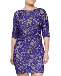 Kay Unger New York Pleated Lace 3 4 Sleeve Dress Blue Multi