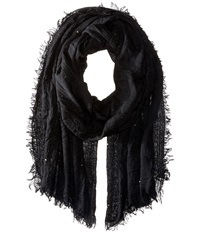 Echo Crinkle With Sequins Wrap Black Scarves