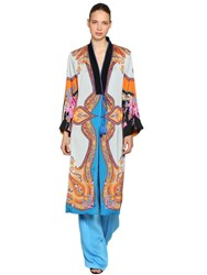 Etro Printed Satin Coat Multicolor