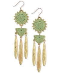 Lucky Brand Two Tone Medallion Chandelier Earrings Gold