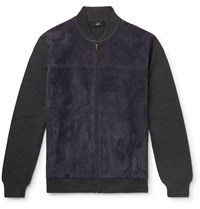 Dunhill Ribbed Wool And Suede Bomber Jacket Blue