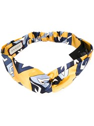 Gucci Wallpaper Print Knot Front Headband Yellow Orange