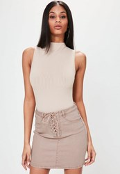 Missguided Camel Lace Up Stretch Denim Mini Skirt