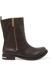 Tory Burch Elyse Textured Leather Boots Dark Brown