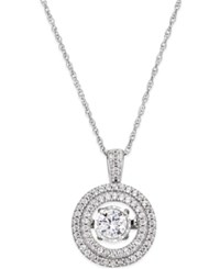 Twinkling Diamond Star Diamond Halo Twinkle Pendant Necklace 1 3 Ct. T.W. In 10K White Gold