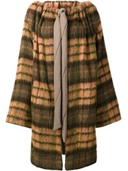 Vivienne Westwood Anglomania Checked Drawstring Coat Yellow And Orange