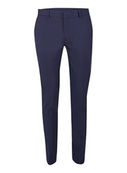 Topman Blue Navy Textured Twill Ultra Skinny Fit Dress Pants