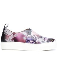 Calvin Klein Collection Peony Print Slip On Sneakers Black