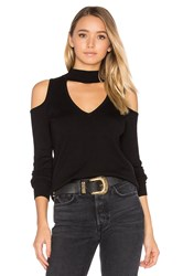 Central Park West Baton Rouge Cold Shoulder Turtleneck Sweater Black