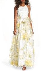 Eliza J Women's Crochet And Floral Organza Halter Gown White Yellow