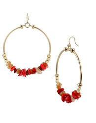 Kenneth Cole Coral Canyon Coral Chip Bead Gypsy Hoop Earrings Red