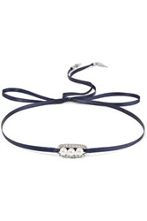 Ben Amun Silver Tone Crystal And Faux Pearl Choker Storm Blue