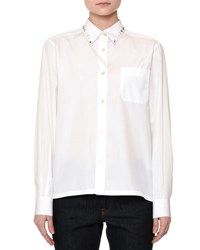 Valentino Long Sleeve Rockstud Trim Blouse White