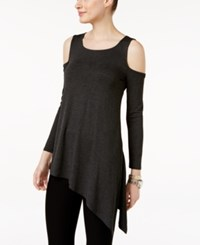 Cable And Gauge Asymmetrical Cold Shoulder Top Charcoal Grey