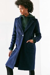 Silence And Noise Fuzzy Brushed Longline Coat Navy