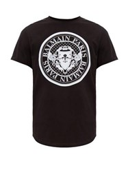 Balmain Flocked Logo Crest Cotton T Shirt Black