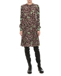 Valentino Floral Embroidered Crepe Dress Green Red Green Red