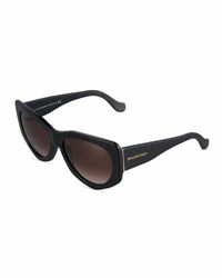 Balenciaga Angled Cat Eye Sunglasses Black Red