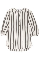 Apiece Apart Nueva Augustina Striped Linen And Silk Blend Tunic White
