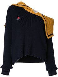 Monse Off Shoulder Sailor Knit Jumper Blue