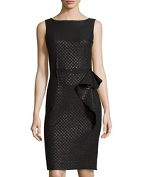 Teri Jon Sleeveless Dot Print Dress W Side Ruffle Black