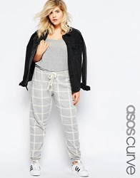 Asos Curve Sweat Pant In Grey Marl With Check Print Grey