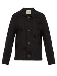 By Walid Murat Floral Embroidered Linen Jacket Black