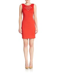 Guess Cutout Detail Sheath Dress Coral Red