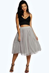 Boohoo Boutique Grid Tulle Tull Midi Skirt Grey