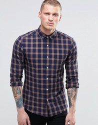 Asos Skinny Shirt With Grid Check In Navy With Long Sleeves Camel Tan